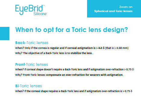Zoom on toric lens designs
